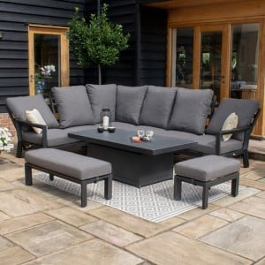 Maze Lounge Outdoor Fabric Manhattan Charcoal Reclining Corner Dining Set with Rising Table