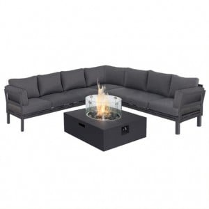 Maze Lounge Outdoor Fabric Oslo Charcoal Large Corner Group Sofa with Square Gas Fire Pit Table