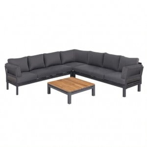 Maze Lounge Outdoor Fabric Oslo Charcoal Large Corner Group Sofa With Square Coffee Table