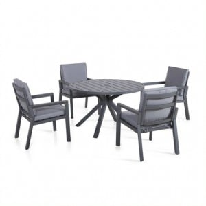 Maze Lounge Outdoor Fabric New York Grey 4 Seat Round Dining Set