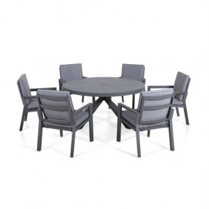 Maze Lounge Outdoor Fabric New York Grey 6 Seat Round Dining Set