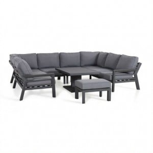 Maze Lounge Outdoor Fabric New York Grey U Shaped Sofa Set with Rising Table