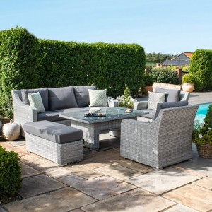 Maze Rattan Garden Furniture Ascot 3 Seat Sofa Dining Set with Rising Table and Weatherproof Cushions