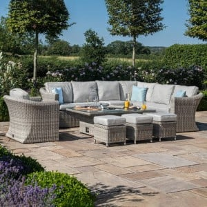 Maze Rattan Garden Furniture Oxford Deluxe Large Corner Dining Set with Rising Table and Armchair