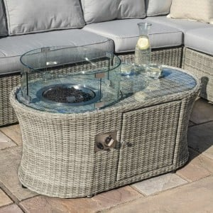Maze Rattan Garden Furniture Oxford Oval Fire Pit Coffee Table