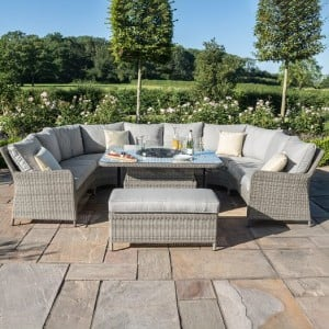 Maze Rattan Garden Furniture Oxford Royal U Shaped Sofa Set with Fire Pit