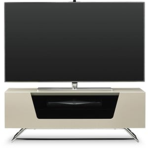 Alphason Furniture Chromium Ivory Glass Top TV Stand