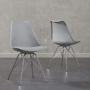 Mark Harris Calabasus Light Grey Faux Leather Dining Chair Pair