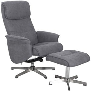 Vida Living Furniture Rayna Grey Fabric Recliner Chair with Footstool
