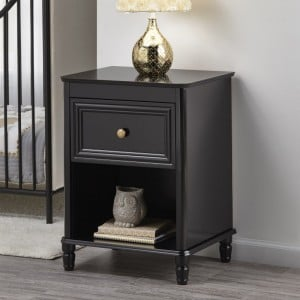 Piper Wooden Furniture Black Nightstand With Drawer