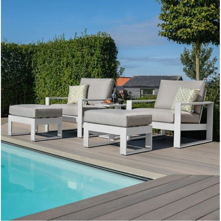 Maze Lounge Outdoor Fabric Amalfi White 5 Piece Lounge Set