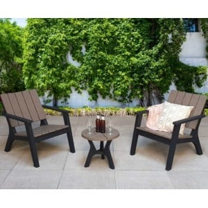 Signature Weave Garden Furniture Polly Tone Black & Grey Molded Plastic  2 Seater Set
