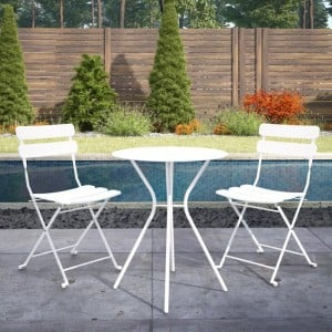 Cosco Outdoor Living White Metal Bistro Set with Metal Fixed Round Table and 2 Folding Chairs