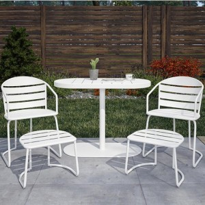 Cosco Outdoor Living Metro Retro White 5 Piece Steel Patio Nesting Bistro Set with 2 Chairs, 2 Ottomans & Table