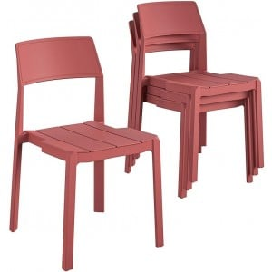 Novogratz Furniture Chandler Persimmon Red Indoor/Outdoor Poolside Collection 4 Pack Stacking Dining Chairs
