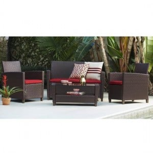 Cosco Outdoor Living Malmo Brown 4 Piece Resin Wicker Patio Deep Seating Conversation Set with Red Cushions