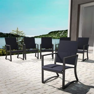 Cosco Outdoor Living Capitol Hill Patio Charcoal Grey with Navy Sling Steel 6 Pack Dining Chairs