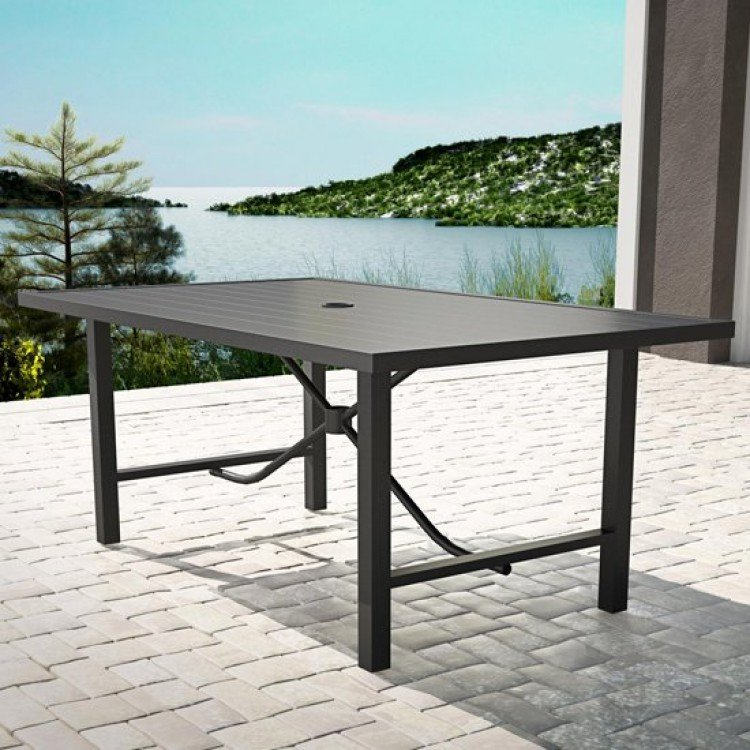 Cosco Outdoor Living Capitol Hill Charcoal Grey Steel Patio Dining Table