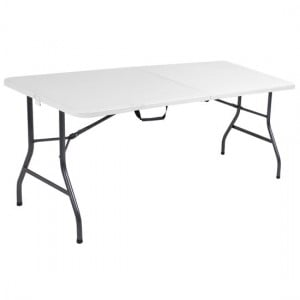Cosco Folding Furniture White Speckle Small Fold-In-Half Molded Resin Top Dining Table