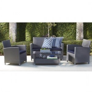 Cosco Outdoor Living Malmo Grey 4 Piece Resin Wicker Patio Deep Seating Conversation Set with Navy Cushions
