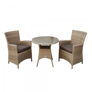 Signature Weave Garden Furniture Darcey Bistro Set with 2 High Back Chair