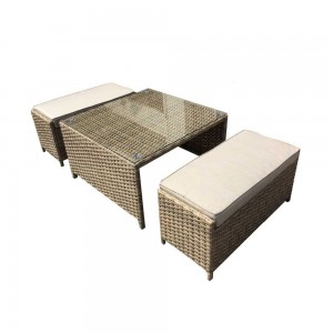 Signature Weave Garden Furniture Elizabeth Coffee Table with 2 Ottoman Seats