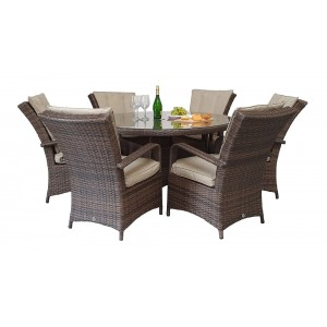 Signature Weave Garden Furniture Florence 6 seat Brown Round Dining Set