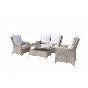 Signature Weave Garden Furniture Sarah Rattan Nature 4-Seater Sofa Set with High Coffee Table