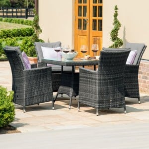 Maze Rattan Garden Furniture LA 4 Seat Square Dining Table Set Grey