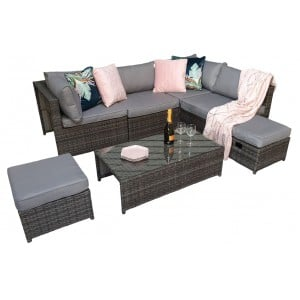 Signature Weave Garden Furniture Chelsea Grey Modular Sofa Dining Set with Storage