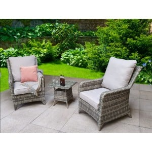 Signature Weave Garden Furniture Sarah Grey Lounge Set With 2 Armchairs