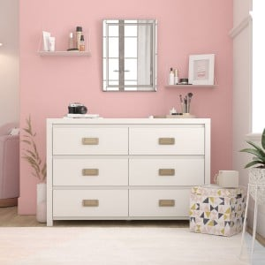 Monarch Hill Haven Painted Furniture White 6 Drawer Chest