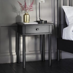Builth Wells Furniture 1 Drawer Bedside Table Charcoal Black