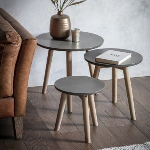 Tonbridge and Malling Furniture Faux Concrete Grey Side Tables (Nest of 3)