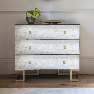 Tewkesbury Furniture 3 Drawer Antique Mirror Wide Chest