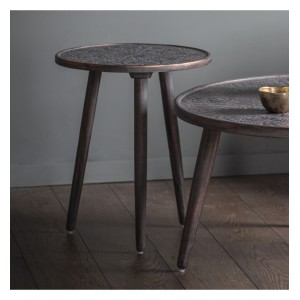 Lostwithiel Wooden Furniture Grey Copper Side Table