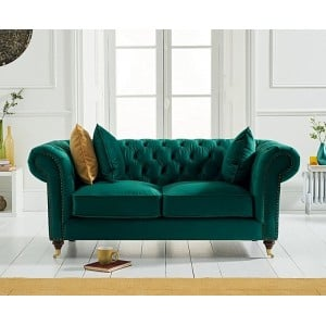 Camara Furniture Chesterfield Green Velvet Upholstery 2 Seater Sofa