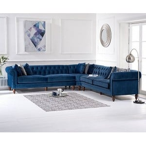 Lauren Furniture Blue Velvet Upholstery 5 Seater Corner Sofa