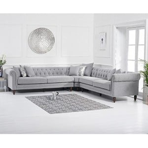Lauren Furniture Grey Linen Upholstery 5 Seater Corner Sofa