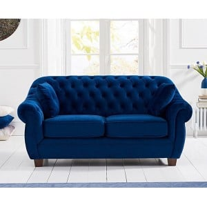 Liv Furniture Chesterfield Blue Plush Fabric Upholstery 2 Seater Sofa