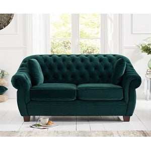 Liv Furniture Chesterfield Green Plush Fabric Upholstery 2 Seater Sofa