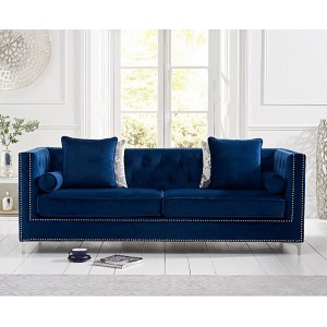 New England Furniture Blue Velvet Upholstery 4 Seater Sofa