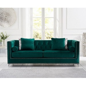 New England Furniture Green Velvet Upholstery 4 Seater Sofa