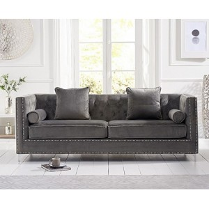 New England Furniture Grey Velvet Upholstery 4 Seater Sofa