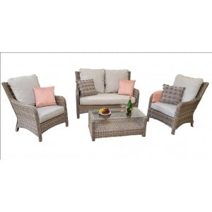 Signature Weave Garden Furniture Alexandra 2 Seater Sofa Set With Grey Cushions