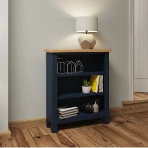 Wittenham Blue Painted Furniture Small Wide Bookcase
