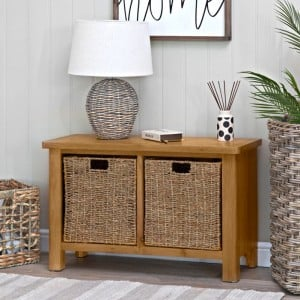 Buxton Rustic Oak Furniture Hall Bench with Wicker Baskets