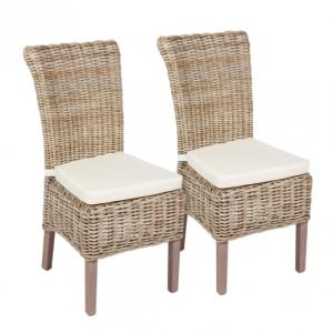 Wicker Merchant Range Pair of Dining Chair with Cushion