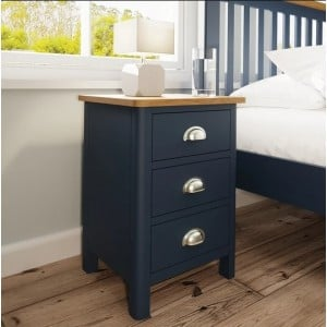Wittenham Blue Painted Furniture 3 Drawer Bedside Cabinet