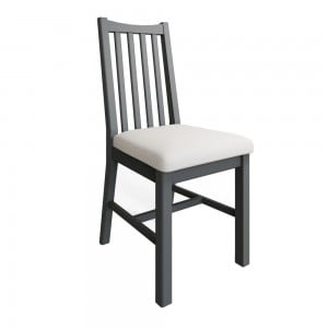 Galaxy Grey Painted Furniture Pair Of Slatted Back Dining Chair